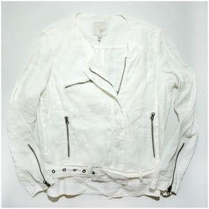 Joie White Linen Zip Jacket Draped Asymmetric